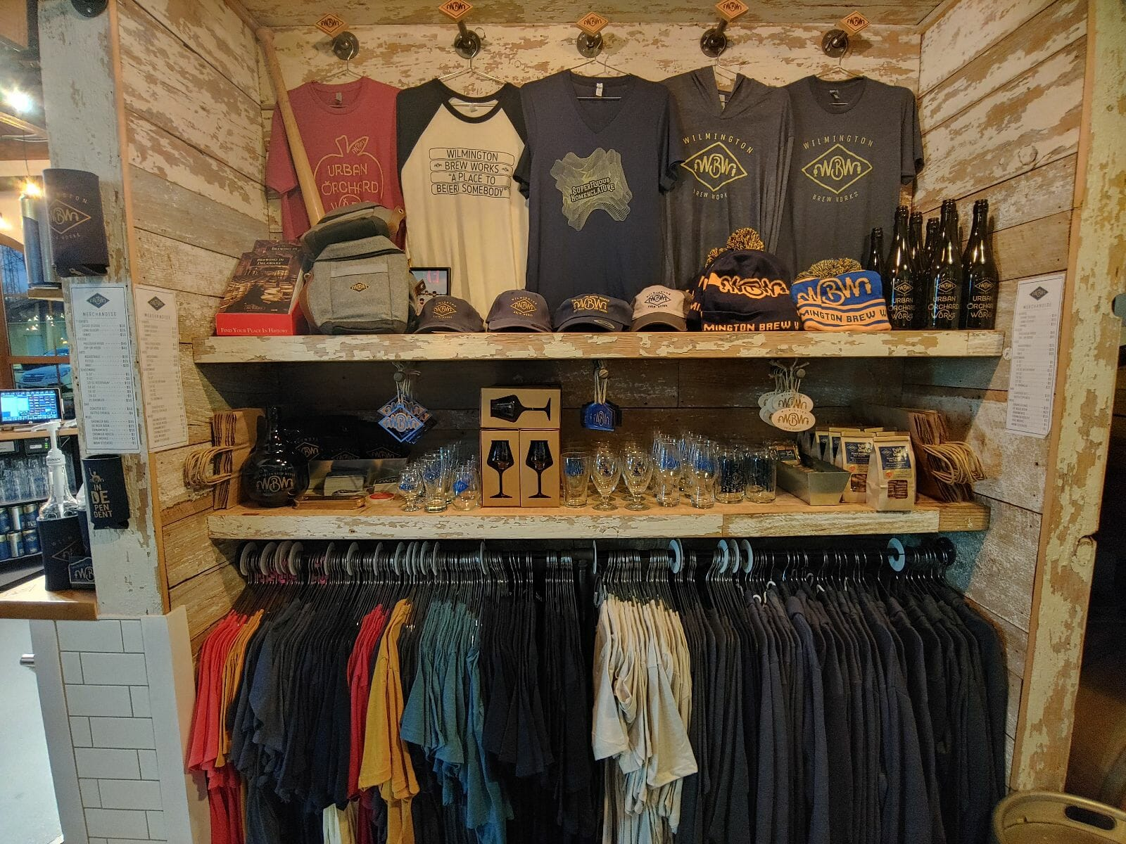 image of merchandise nook inside Wilmington Brew Works