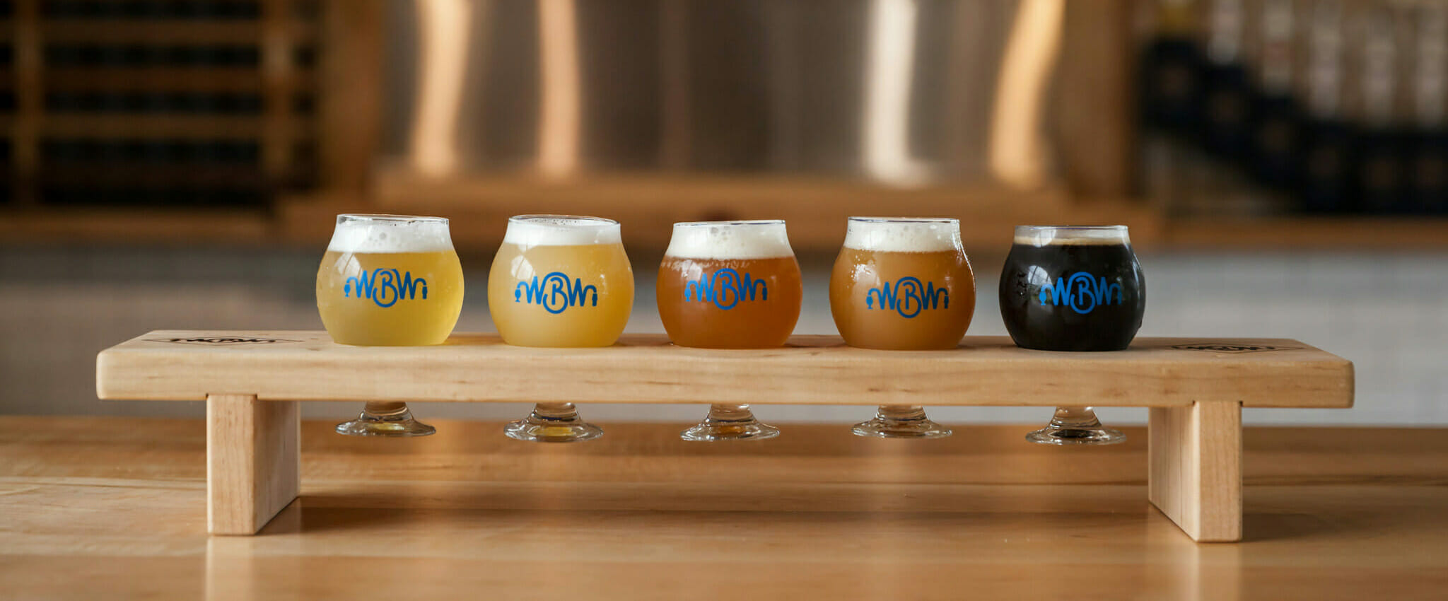 image of a flight of 5 wilmington brew works beers
